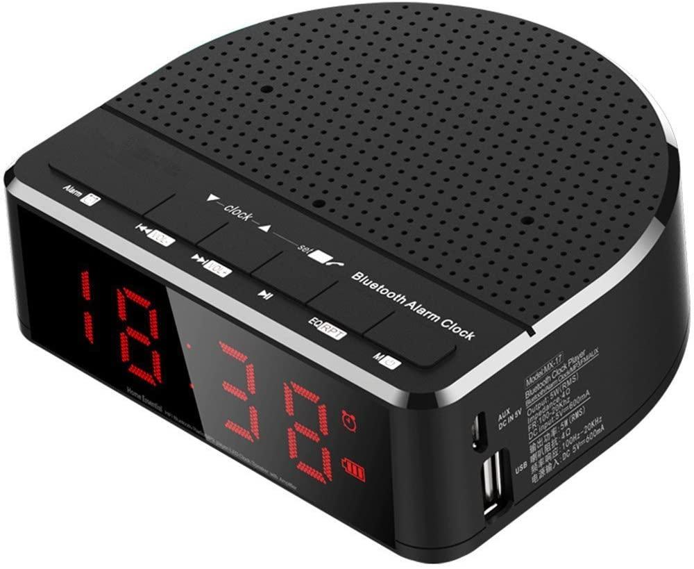 jgzwl Reloj despertadorRadio del Reloj De Alarma Digital con Altavoz Bluetooth, Pantalla De Dígitos Rojos con 2 Atenuador, Radio FM, Reloj Despertador Led De Puerto USB.