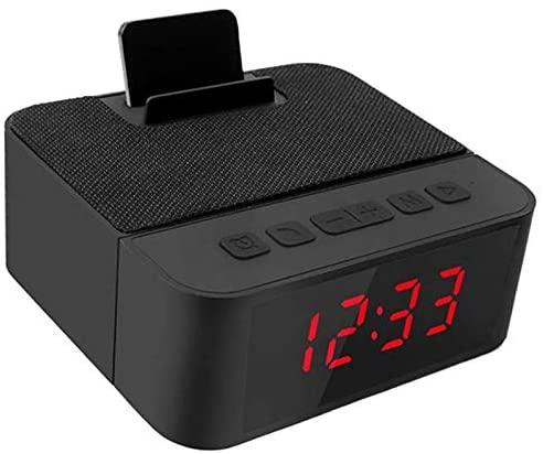 jgzwl Reloj despertadorRadio Digital Despertador Todo-en-uno Diseño con Altavoz Inalámbrico, Radio Am/FM, Puerto De Carga USB, Snooze, AC Y Batería Operada