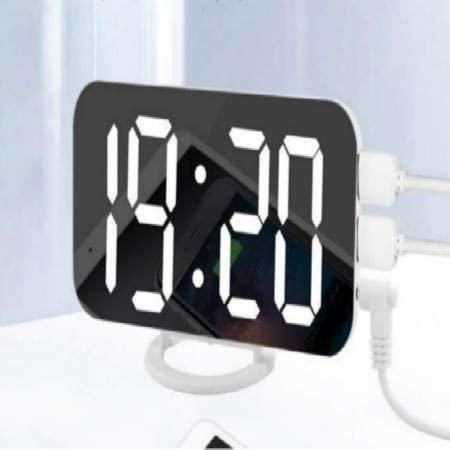 jgzwl Reloj despertadorReloj De Alarma Digital, Pantalla Led Grande De 6 Pulgadas con Puertos De Cargador USB Duales Modo De Atenuación Fácil Función De Snooze, Espejo Moderno