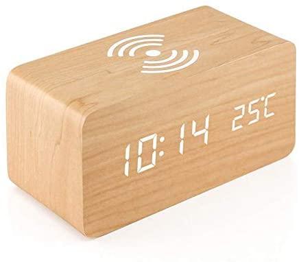 jgzwl Reloj despertadorReloj Despertador De Madera con Almohadilla De Carga Inalámbrica Qi Compatible con para iPhone Samsung Madera Led Reloj Digital De Control De Sonido Funct Funct