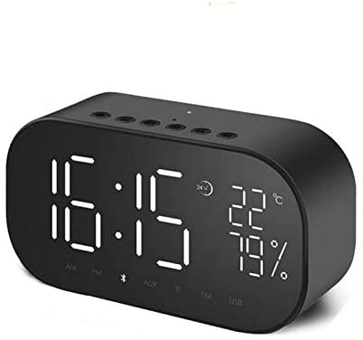 jgzwl Reloj despertadorReloj Despertador Led con FM Radio Wireless Bluetooth Speaker Mirror Display Support Aux TF USB Music Player Wireless For Office Home