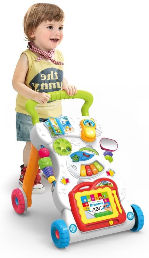 JINYJIA Primeros Pasos Bebé Actividad Andadores, Patrón Múltiple, Sentar & Jugar, Música Piano, Estar & Caminar, Juguete de aprendizaje, Desarrollo de Inteligencia