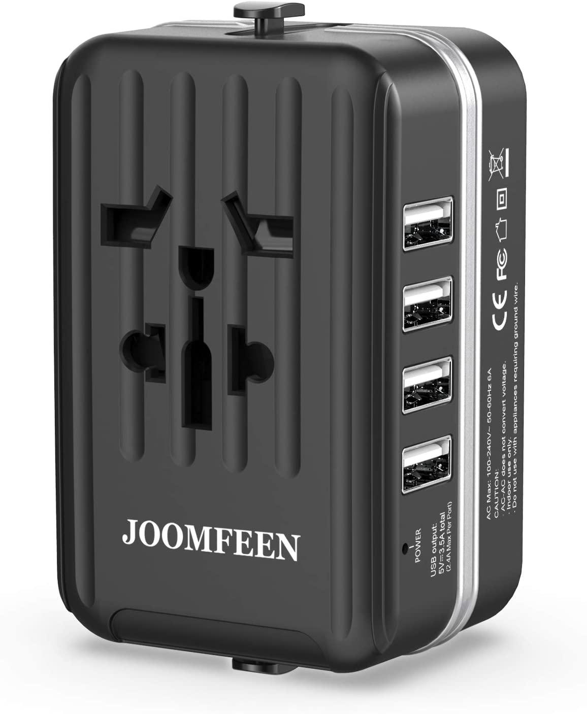 JOOMFEEN Adaptador Enchufe Universal, Adaptador De Viaje Internacional con 4 Puertos USB para Ingles/EEUU/Irlanda/Inglaterra/Chino/Americano/Europeo/Japon/Canada USA EU UK AU De 150 Países(Negro)