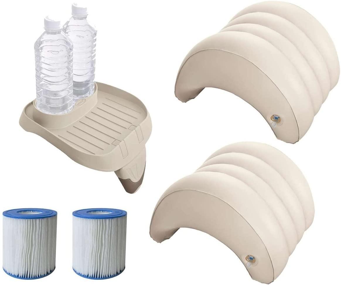 Juego de accesorios de 5 piezas para piscinas de hidromasaje Intex PureSpa (2 filtro S1 29001, 1 bandeja 28500, 2 reposacabezas 28501)