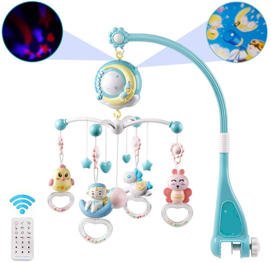 Julyfun Bebé Cuna Musical móvil con proyector y Luces, Juguete de Cuna para bebé Colgando sonajeros giratorios y Caja de música a Control Remoto para recién Nacidos Regalo de Juguete