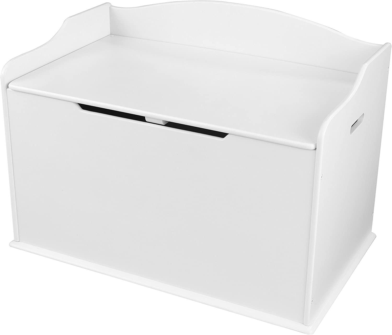 KidKraft Austin Baúl con Tapa para almacenaje de Juguetes de Madera, Muebles para Salas de Juego y Dormitorio de niños, Blanco
