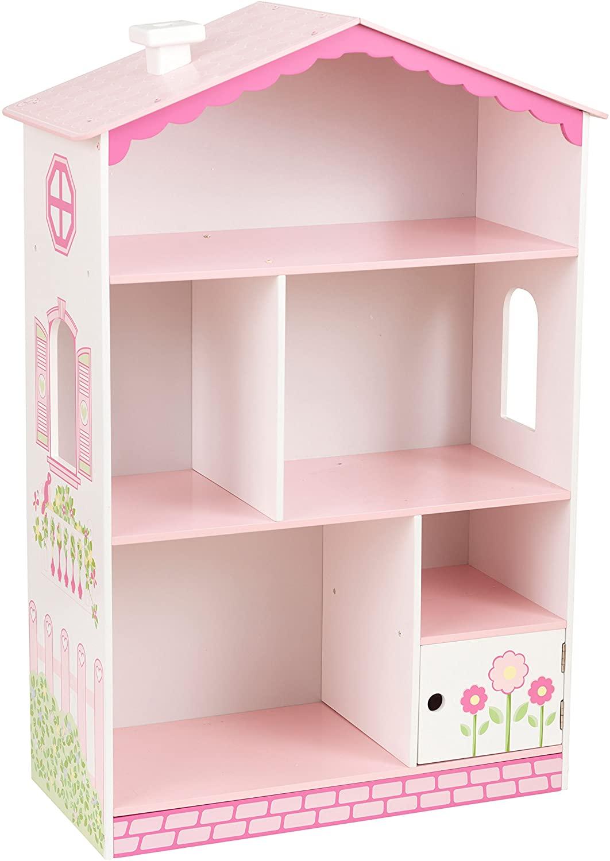 KidKraft- Dolls House Cottage Estantería de madera con diseño de casa de muñecas, mueble expositor para dormitorio de niños, estantería con espacio para almacenamiento (14604)