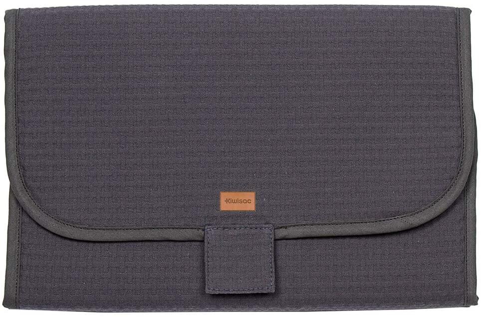 Kiwisac Cambiador de Viaje Sweet Grey Bebé Cambiador Portátil de Pañales Impermeable/Kit Cambiador de Viaje Plegable con Velcro | Color Gris | 55x30 cm