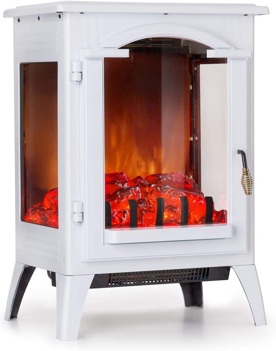 Klarstein Graz Chimenea eléctrica Llama simulada - Chimenea electrónica, 1000/2000 W, para Salas de 30 m², Termostato, Función calefactora, Calefacción atenuable, Vista del Interior, Blanco