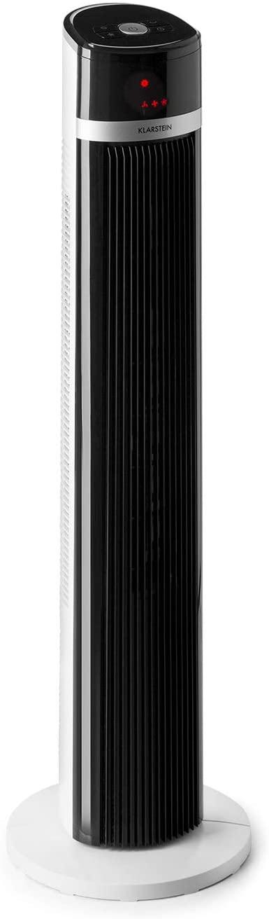 KLARSTEIN IceTower New Line - Ventilador de Columna, 3 etapas de Velocidad, 3 Modos de Funcionamiento, Programable 7 h, Display LED, Columna oscilante, Control Remoto, Diseño Vertical, Blanco