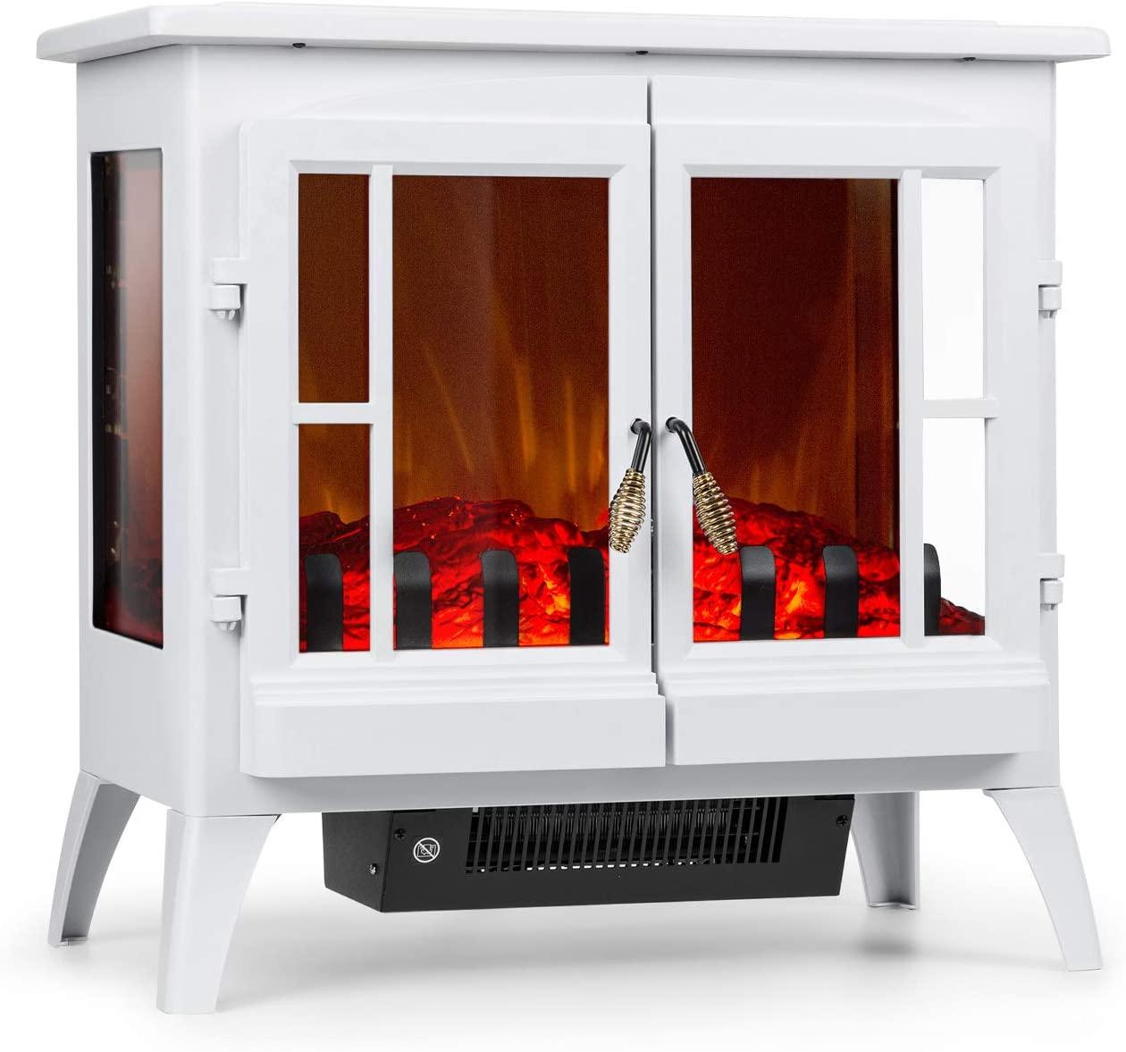 Klarstein Innsbruck Chimenea eléctrica Llama simulada - Chimenea electrónica, 1000/2000 W, para 30 m², Termostato, Función calefactora, Calefacción atenuable, Blanco
