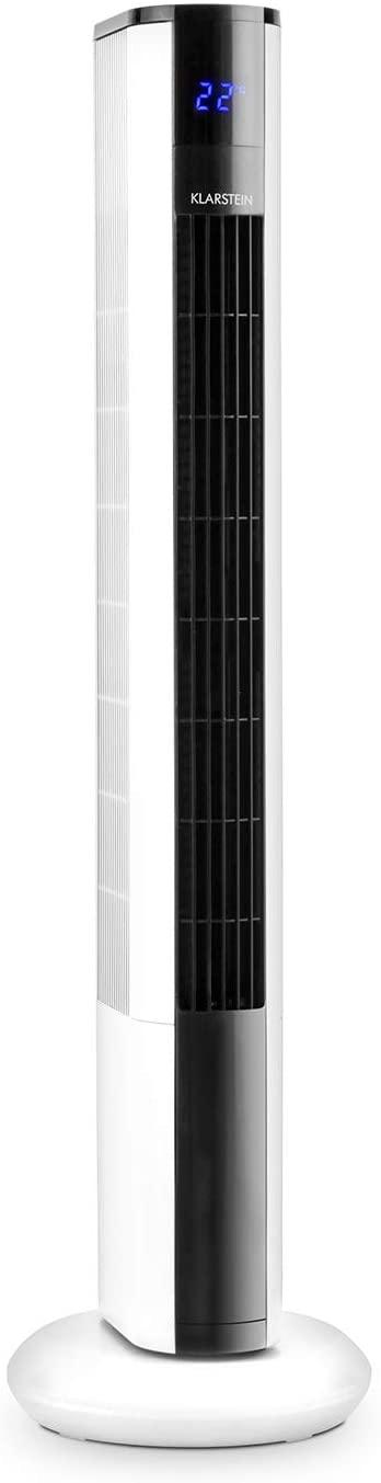 KLARSTEIN Skyscraper 3G White Edition - Ventilador de pie, Diseño Vertical, 3 velocidades, Bajo Consumo 50 W, Oscilación 90°, Temporizador, Mando a Distancia, Blanco