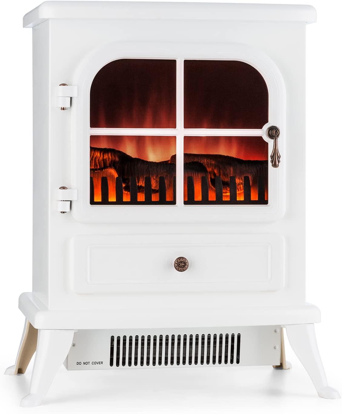 Klarstein St. Moritz - Chimenea eléctrica Virtual, Calefactor, Calefacción, Sistema Independiente de Calefactor, 1850W, 2 Niveles, Termostato, Libre de Fuego y Humo, Blanco