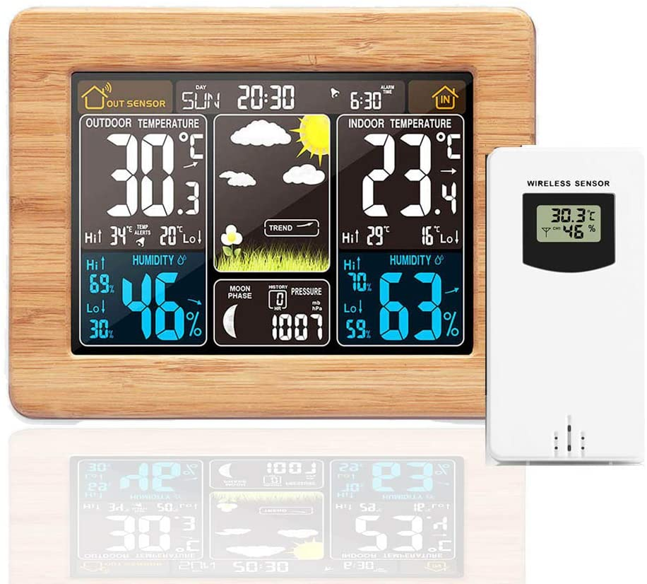 Konesky Estación Meteorológica Inalámbrica Reloj Digital USB Monitoreo del Tiempo con Sensor Exterior Interior Termómetro Temperatura Humedad Barómetro Alarma Fase Lunar Pantalla Despertador (Bambú)