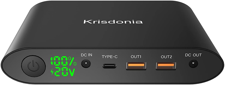 Krisdonia 25000mah Power Bank Batería Externa Cargador Portátil con Doble USB(Quick Charge 3.0)+DC Salida+Typo c Salida - Universal Power Pack Compatible para Laptops, Macbook, Smartphone y Tablet