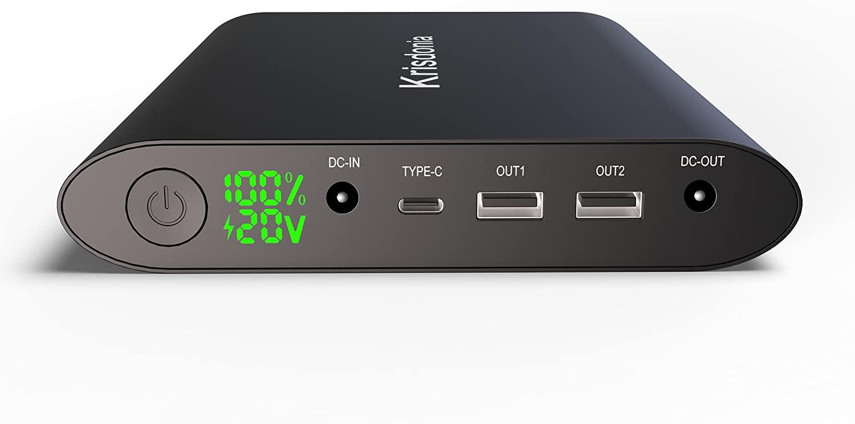 Krisdonia 50000mah Power Pack Batería Externa Cargador Portátil con Doble USB(Quick Charge 3.0)+DC Salida+Typo c Salida - Universal Power Bank Compatible para Laptops, Macbook, Smartphone y Tablet