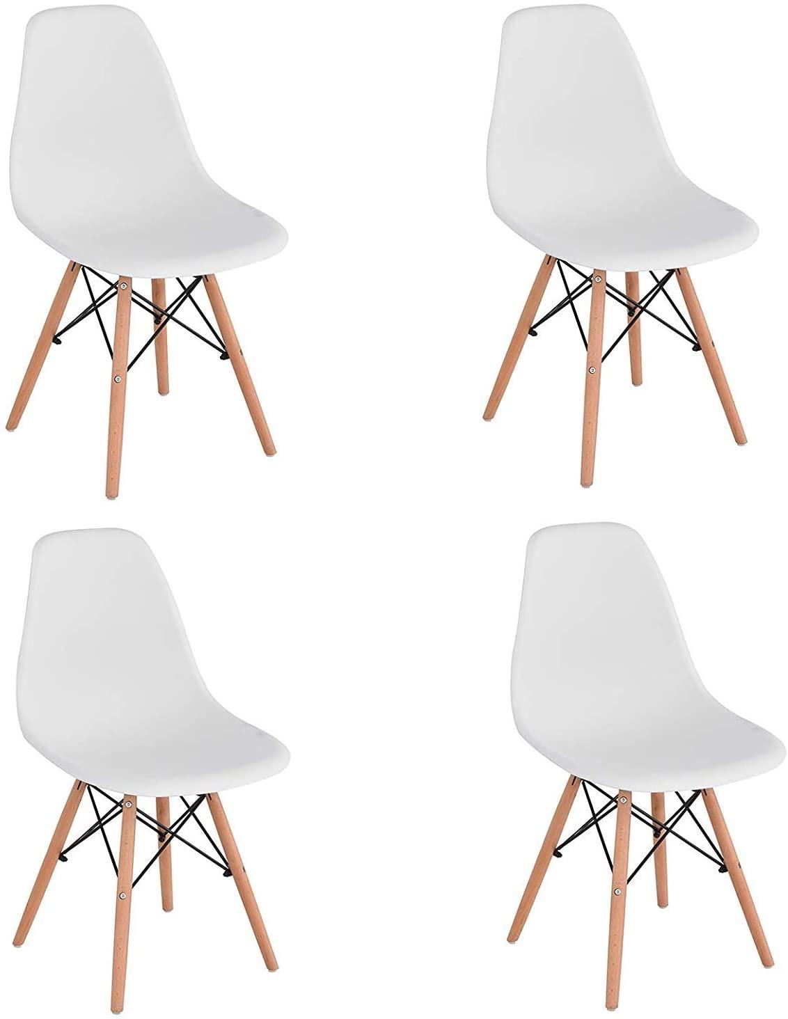 KunstDesign Silla de Comedor Premontada, Silla de Comedor de Diseño Ergonómico Moderno Silla de Plástico para Cocina, Comedor, Dormitorio, Sillas de Salón, Set de 4 (WH-Pre-4)