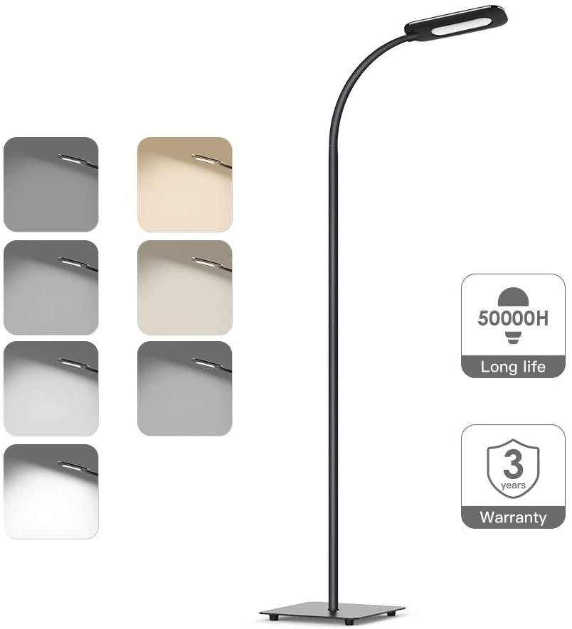 Lámpara de pie,luz de piso LED,lámpara de pie TECKIN de lectura Regulable para el dormitorio de la sala de estar,vida útil larga Luz de piso de control táctil,3temperaturas de color,brillo de 4niveles [Clase de eficiencia energética A+]