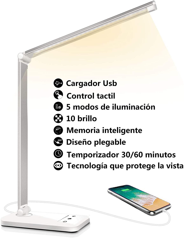 Lámpara Escritorio LED, Flexo de Escritorio (Cuidado Ocular, Puerto USB, 5 Modos,10 Niveles de Brillo,Temporizador de 30/60min, Función de Memoria) [Clase de eficiencia energética A++]