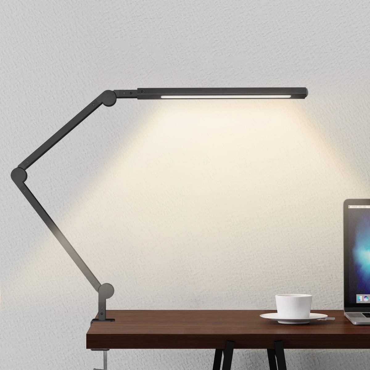 Lámpara Escritorio LED, Wellwerks 9W Lámpara de Mesa Abrazadera Brazo Oscilante Luz Regulable con 6 Modos de Color + Temporizador + Memoria para Lectura Trabajo Oficina (Negro) [Clase de eficiencia energética A++]