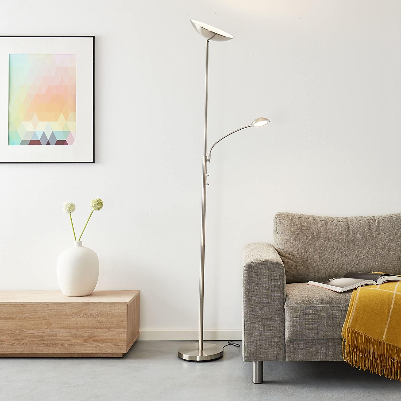 Lámpara LED de pie con brazo de lectura, 1 bombilla LED de 18 W integrada, 1 bombilla de 1650 lúmenes, 3000 K, metal, hierro [Clase de eficiencia energética A]