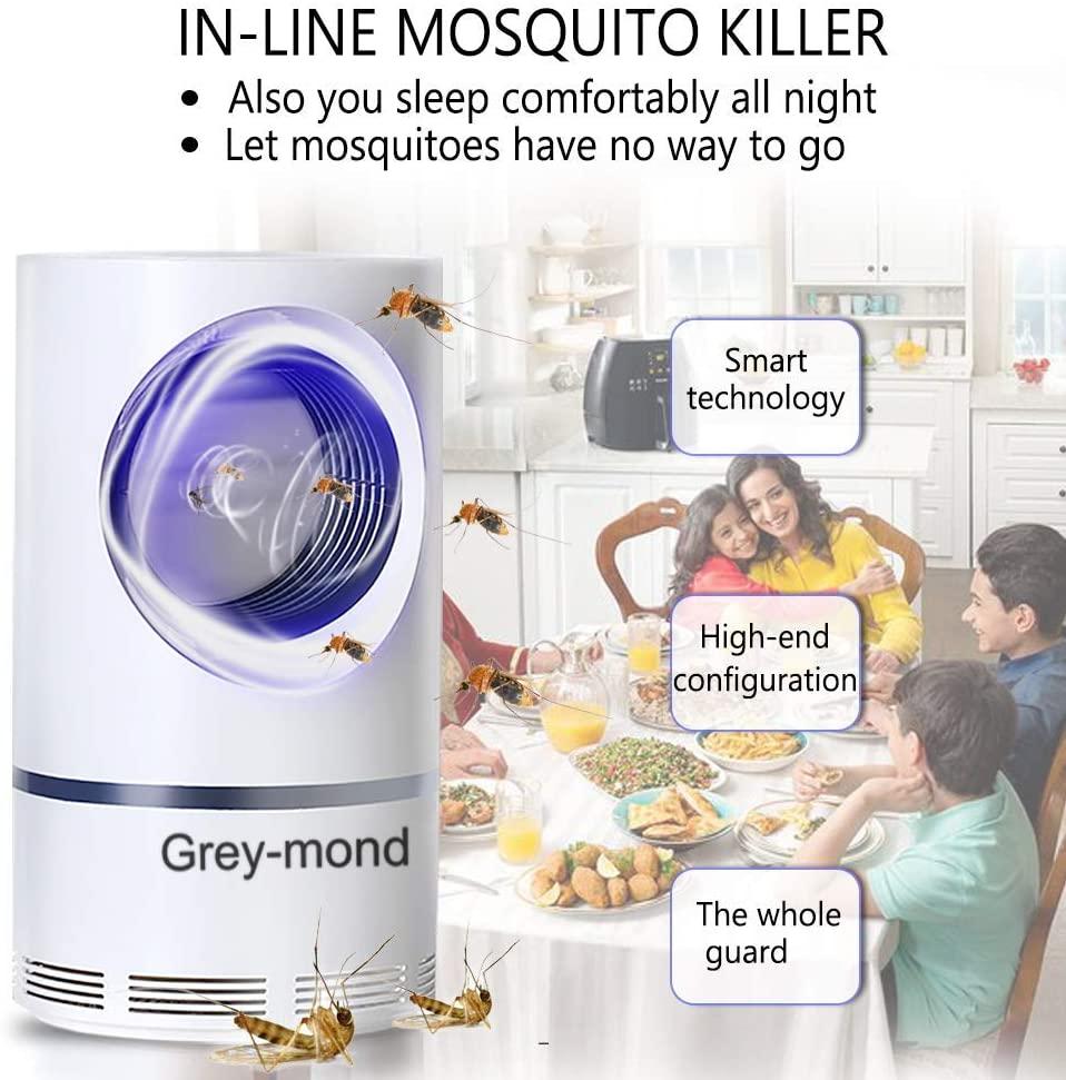 Lámpara mosquitos – 5W Trampas para Insectos Matamoscas Mata Mosquitos Eléctrico para Proteger a los niños, Mata Insectos con 368NM Luz Ultravioleta USB LED, Sin Productos Químicos (A)