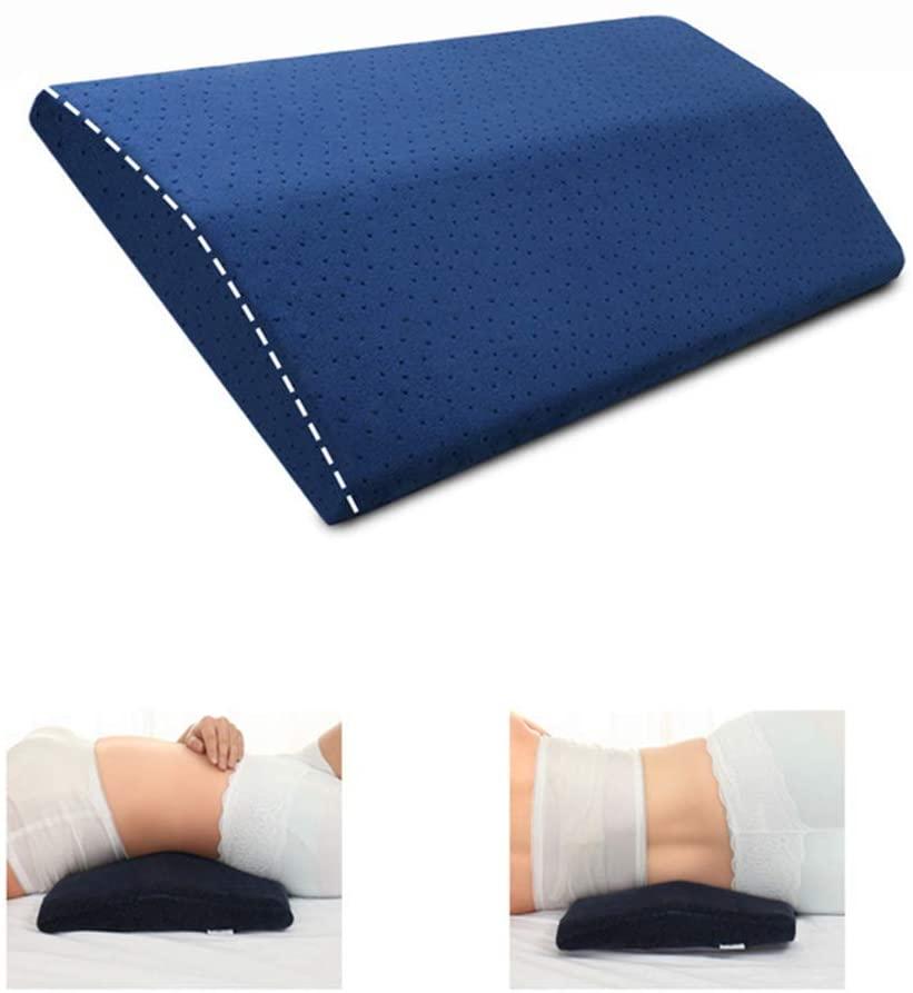 LandJoy Almohada de Soporte Lumbar,Dormir Memoria Espuma Cojín Almohada Larga,Almohada Lumbar para la Parte Inferior de la Espalda para el Alivio del Dolor de Espalda Almohada de Embarazo(Azul) [Clase de eficiencia energética A+]