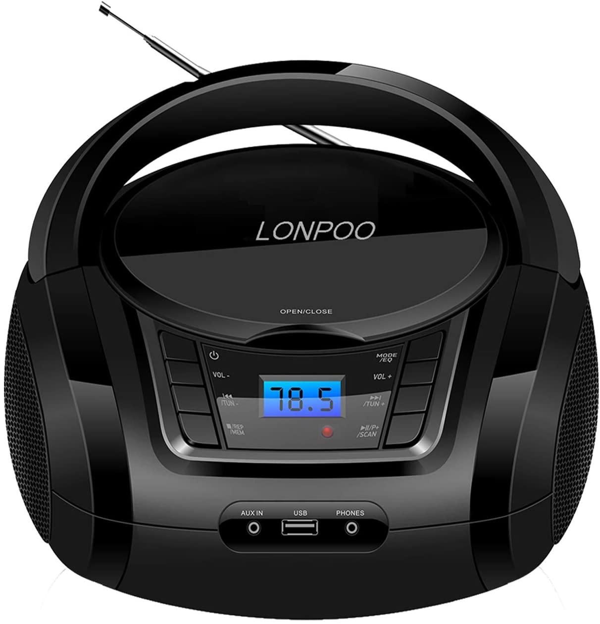 Lectores de CD portátiles,Radio CD / MP3 Portátil Reproductor CD con Bluetooth/FM/USB/AUX-IN/Salida de Auriculares/Estéreo Altavoz (Negro)