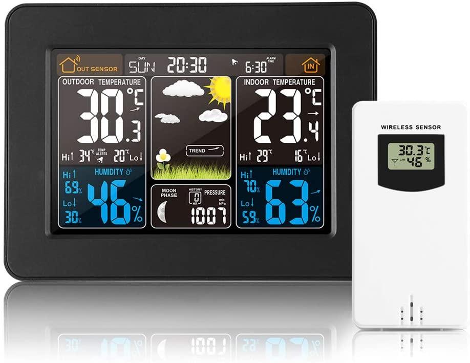 Lemonmax Estación Meteorológica Inalámbrica, Higrómetro para Termómetro Interior y Exterior, Estación Meteorológica con Sensor Remoto, Monitor/Alertas de Temperatura y Humedad, Reloj Despertador