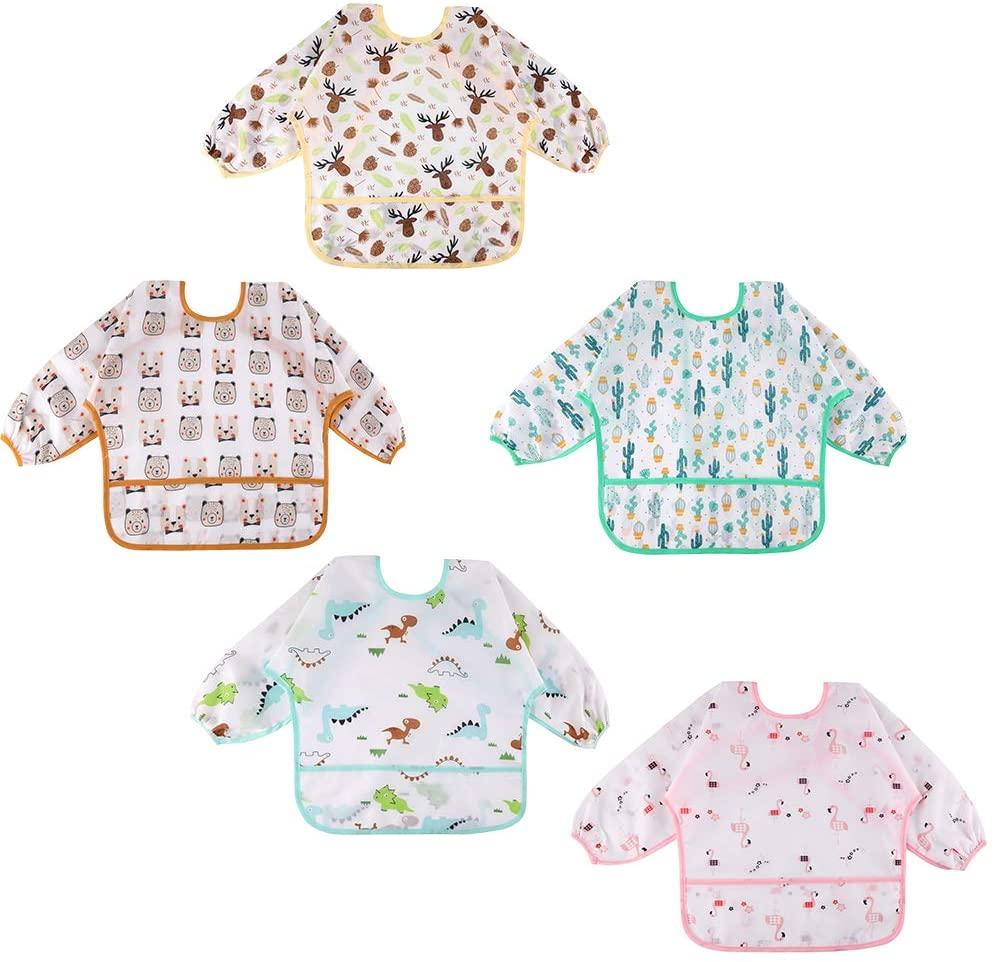 Lictin 5 Pcs Babero con Mangas Impermeable- Babero de Manga Larga con Escote Ajustable para Bebes (2-5 años)