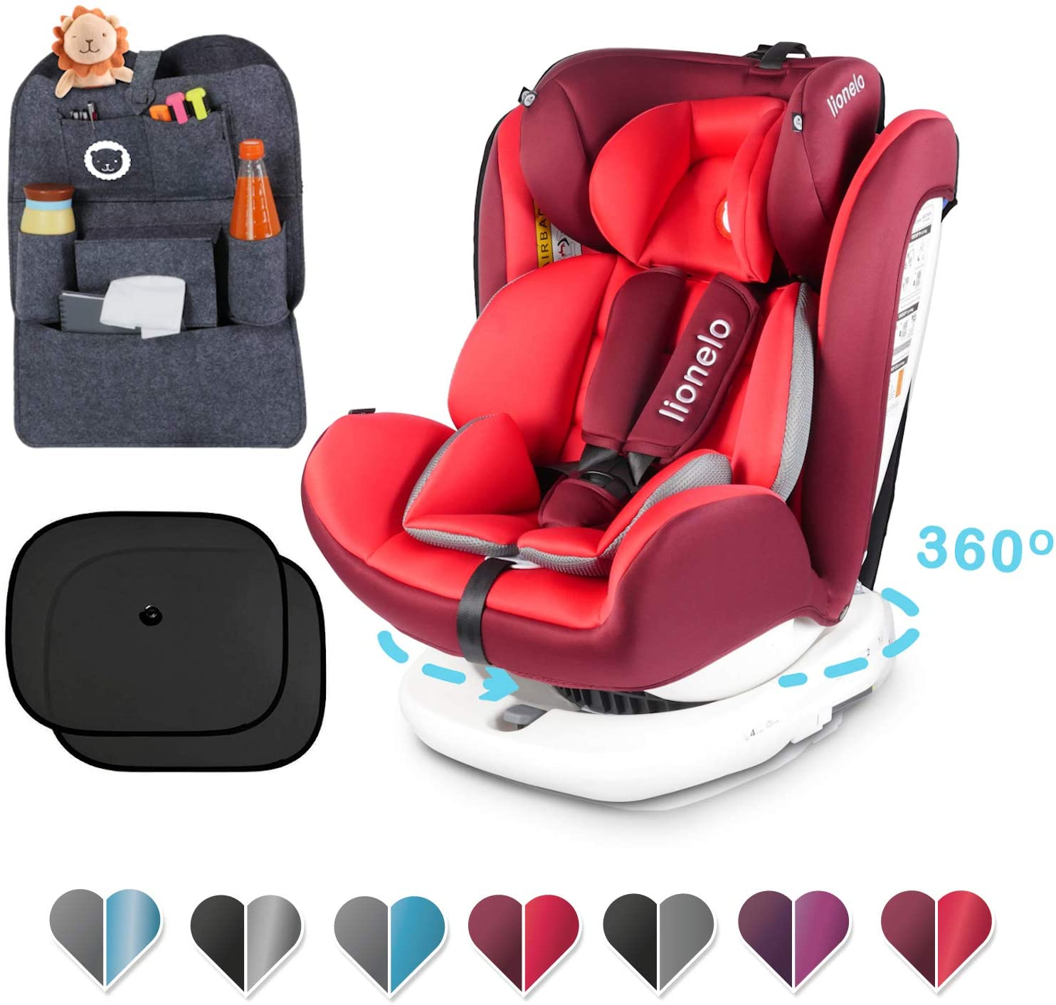 Lionelo Bastiaan - Asiento infantil para coche (grupo 0+ 1 2 3 (0-36 kg), ISOFIX 360°, certificado TÜV SÜD, ECE R 44/04) rojo Rojo + Set