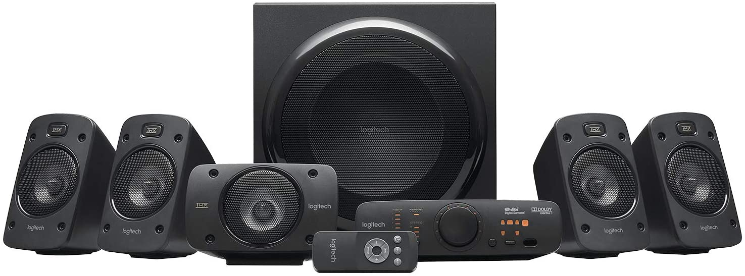 Logitech Z906 5.1 Sistema de Altavoces Sonido Envolvente THX, Certificado Dolby&DTS, 1000 W de Pico, Multi-Dispositivos, Entradas Audio Múltiples, Controles Integrados, PC/PS4/Xbox/TV/Móvil/Tablet