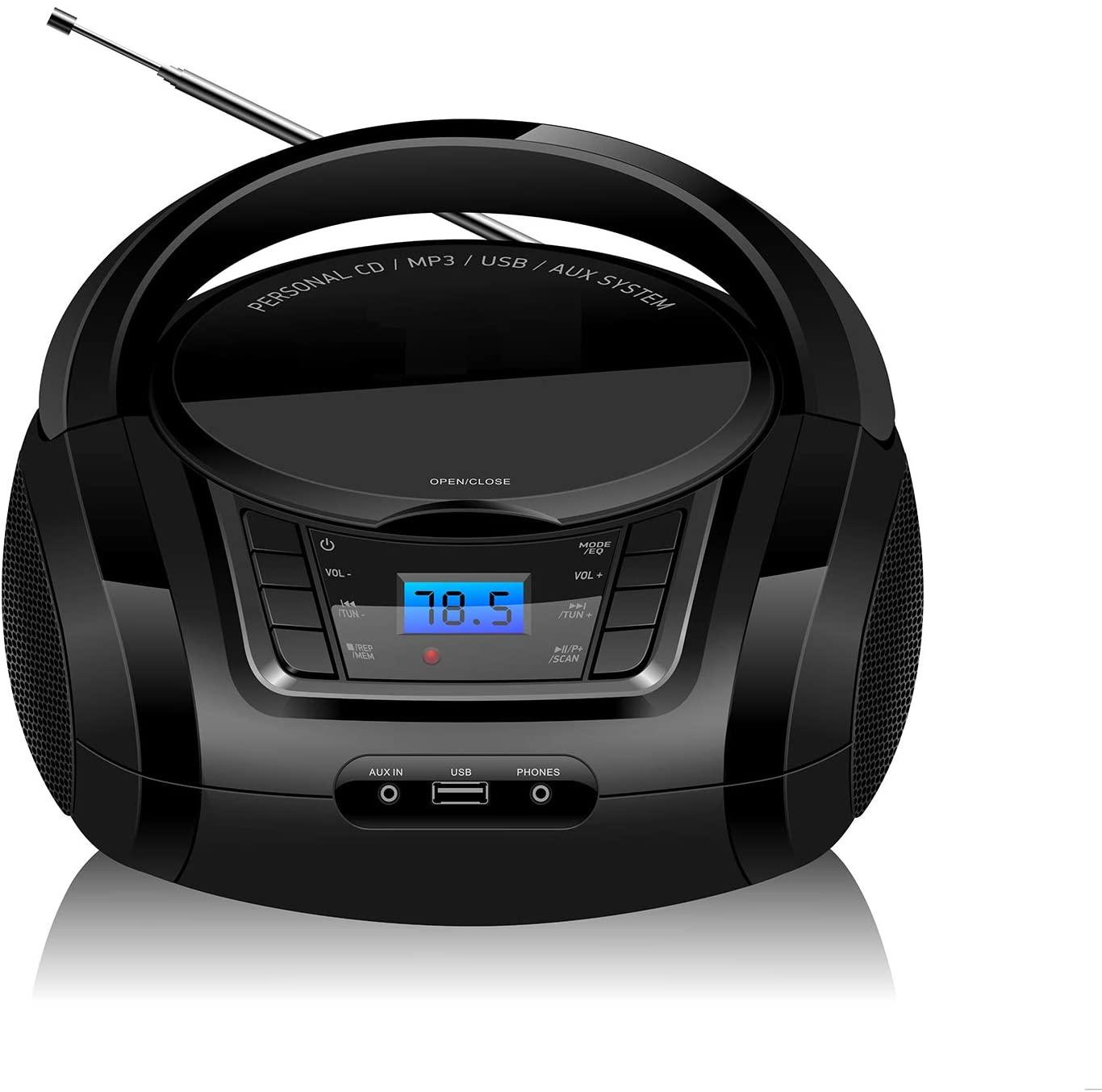 LONPOO Reproductor CD, Bluetooth Lectores de CD portátiles, con Altavoz HiFi, USB, Radio FM, Entrada AUX y Conector para Auriculares