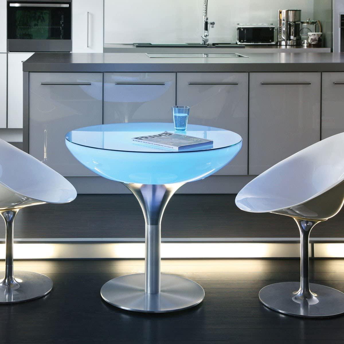 Lounge mesa 75LED PRO mesa de comedor opalino/chasis aluminio/Brushed Anodized/Ø x H: 84x 75cm/12programas & 29colores/con mando a distancia IR