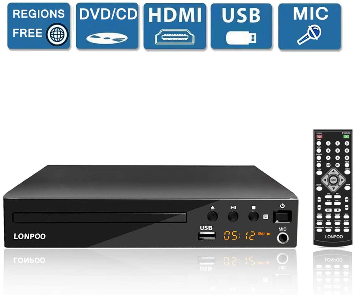LP-099 Reproductor de DVD, Compact DVD Player 1 ~ 6 Región libre (HDMI, USB, RCA, MIC, incluido cable HDMI&AV &control remoto)