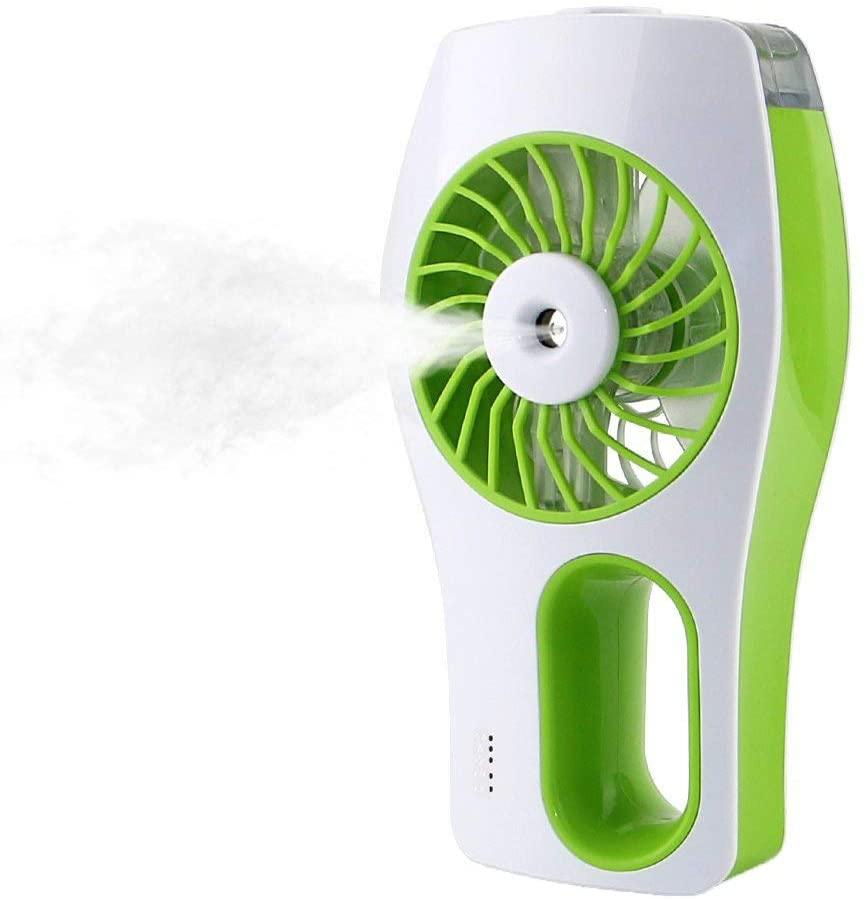 Lrrlpr Ventilador De Nebulización De Mano, Mini Ventilador De Refrigeración Portátil Personal, Funciona con Pilas, USB Recargable, Humidificador,Green