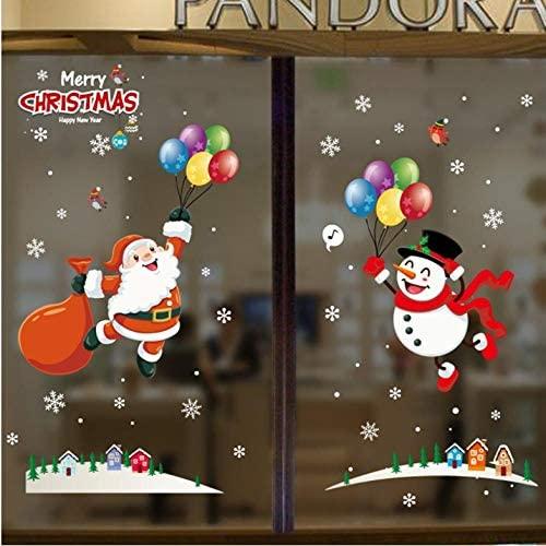 Lsping 2020 maravillosas pegatinas de pared de Navidad ventana de vidrio calcomanías del festival murales de Santa decoraciones de año nuevo para la decoración del hogar