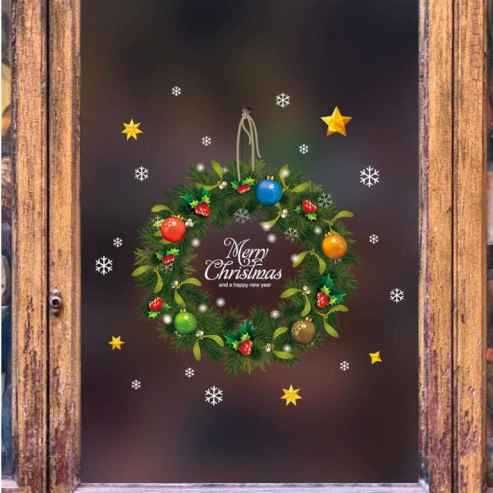 Lsping Guirnalda de Navidad 2020 Pegatinas de pared Ventana Vidrio Calcomanías del Festival Murales de Santa Decoraciones de Navidad de Año Nuevo para la decoración del hogar