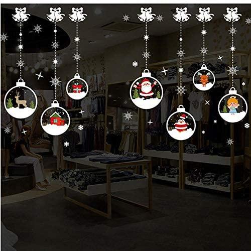 Lsping Sala de estar de Navidad Navidad Papá Noel Muñeco de nieve Elk 2020 Año Nuevo Pegatinas de pared Decoración de ventana para Navidad Calcomanía para el hogar