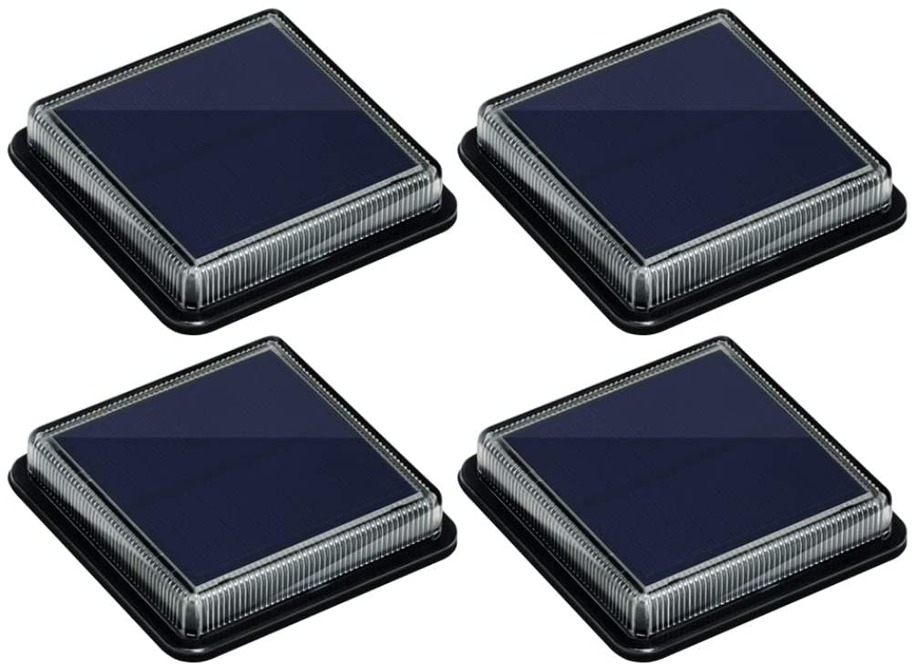 LucesSolaresJardin, Lámpara Solar ExteriorIP68 Impermeable Auto ON/OFF Luz Solar del Piso para Step Garaje Camino Patio Deck Entrada Vía Calle Valla - Blanco Cálido - Cuadrado - 4 Pack [Clase de eficiencia energética A]