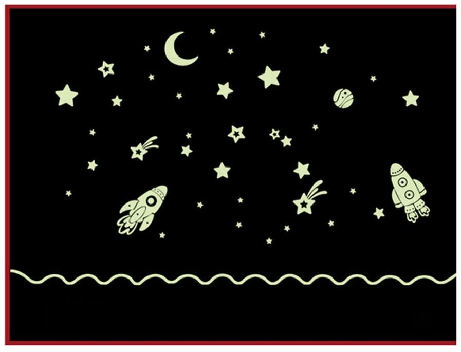 Luminoso Pegatinas de Pared de Bebé, Dragon868 Estrellas Cohete y Luna Que Brillan En La Oscuridad Para El Techo O Pared Pegatinas Niños Ropa de Cama Habitación O Fiesta de CumpleañOs