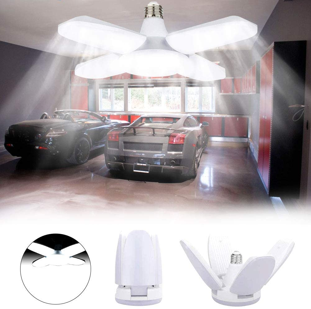 Luz de Techo LED para Garaje, LACYIE Lámpara Deformable Para Taller 80W 8000LM E27 con 4 Paneles Ajustables, LED Lámpara de Garaje para Garaje, Almacén, Taller, Sótano, Gimnasio (80W Blanco frio)