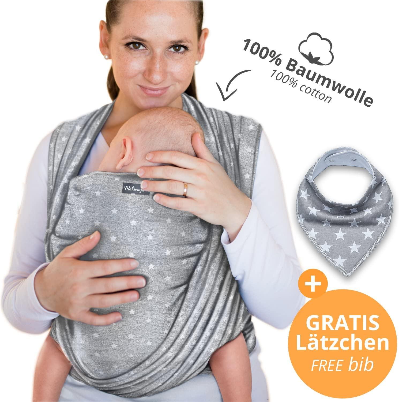 Makimaja - Portabebés hecho de algodón 100% - gris claro con estrellas - portabebés de alta calidad para recién nacidos y bebés hasta 15 kg - incluye bolsa para guardar y babero