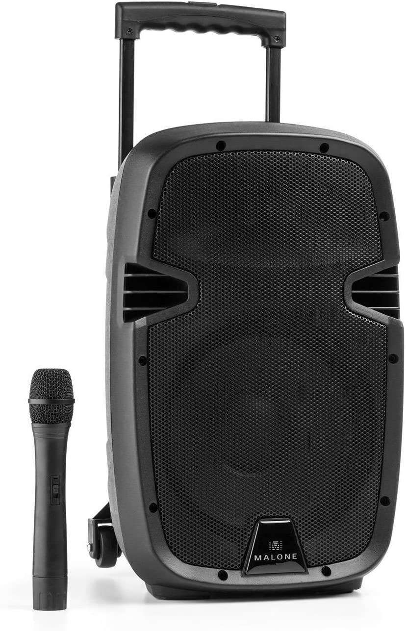 Malone Bushfunk 25 altavoz activo portátil (500 W, bluetooth, micrófono, batería, USB, entrada SD, salida RCA, reproductor MP3, micro receptor integrado VHF, carcasa ABS)