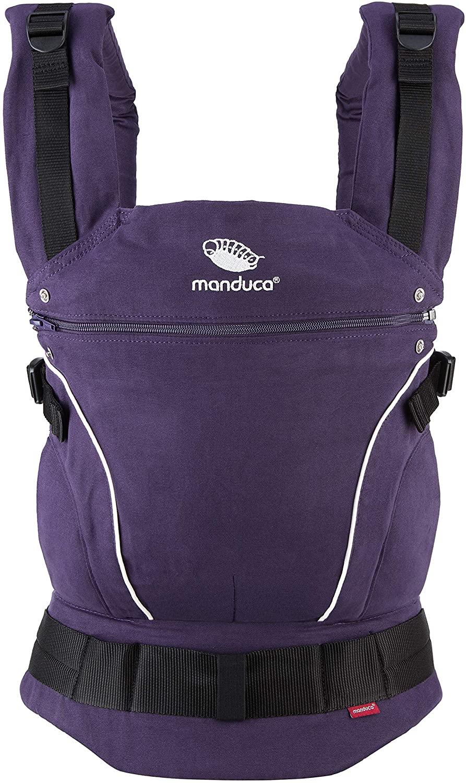 manduca First Baby Carrier > PureCotton < Mochila Portabebe Ergonomica, Algodón Orgánico, Extensión de Espalda Patentada, para Recién Nacidos y Bebés de 3,5 a 20 kg (PureCotton, Purple (purpúreo))