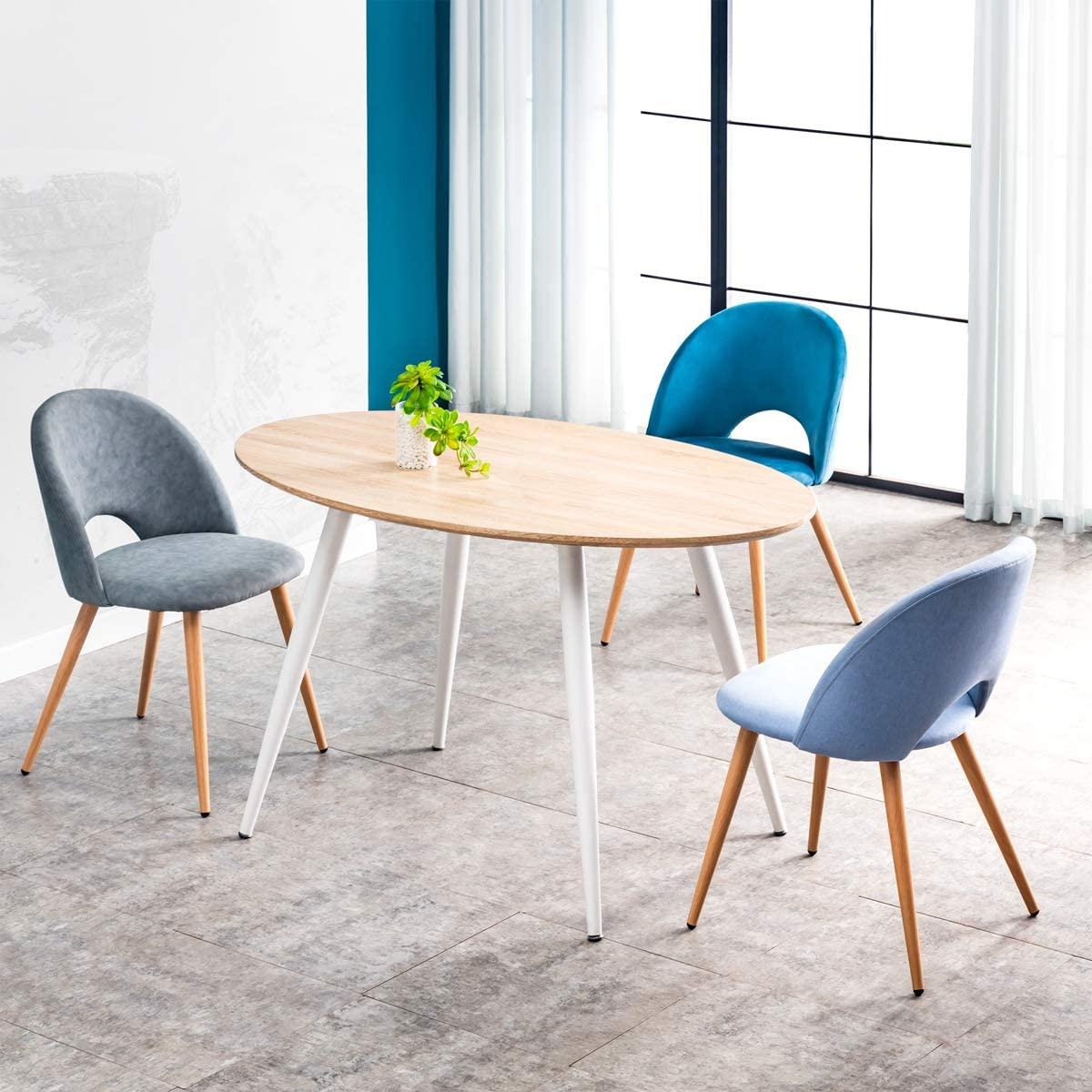 Mc Haus FIKKA - Mesa Comedor Ovalada de madera MDF diseño Escandinavo con patas color Blanco lacadas, Mesa cocina salón Diseño Rectangular 129x79x75cm