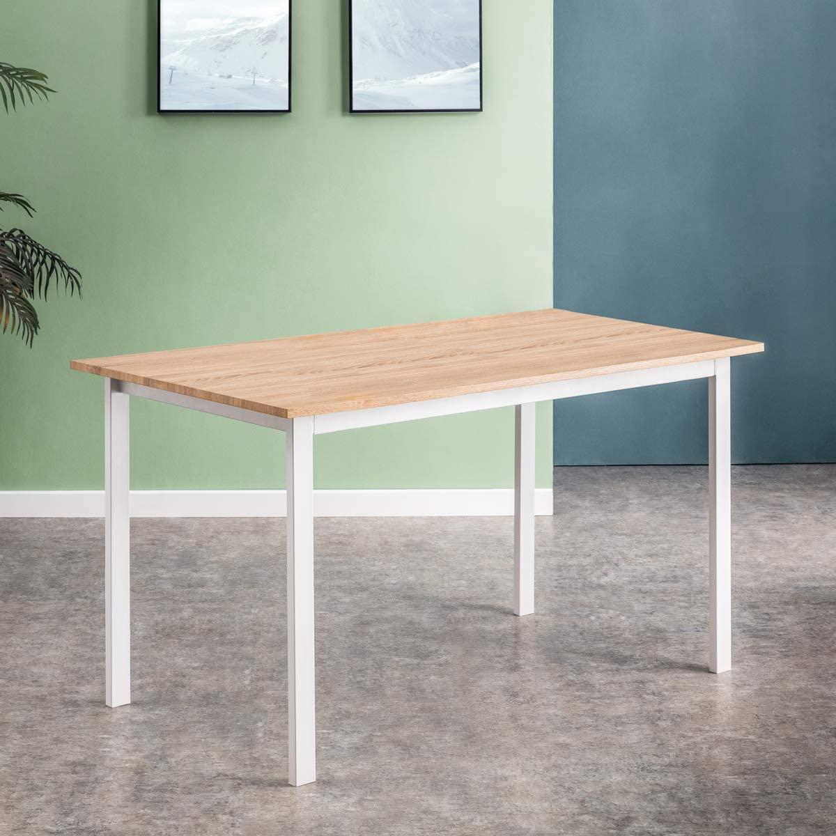 Mc Haus KENIA - Mesa Nórdica Rectangular Comedor de madera Natural MDF con estructura de Metal Blanca mate, Mesa Cocina Salón Escritorio Diseño Moderno 140x80x77cm