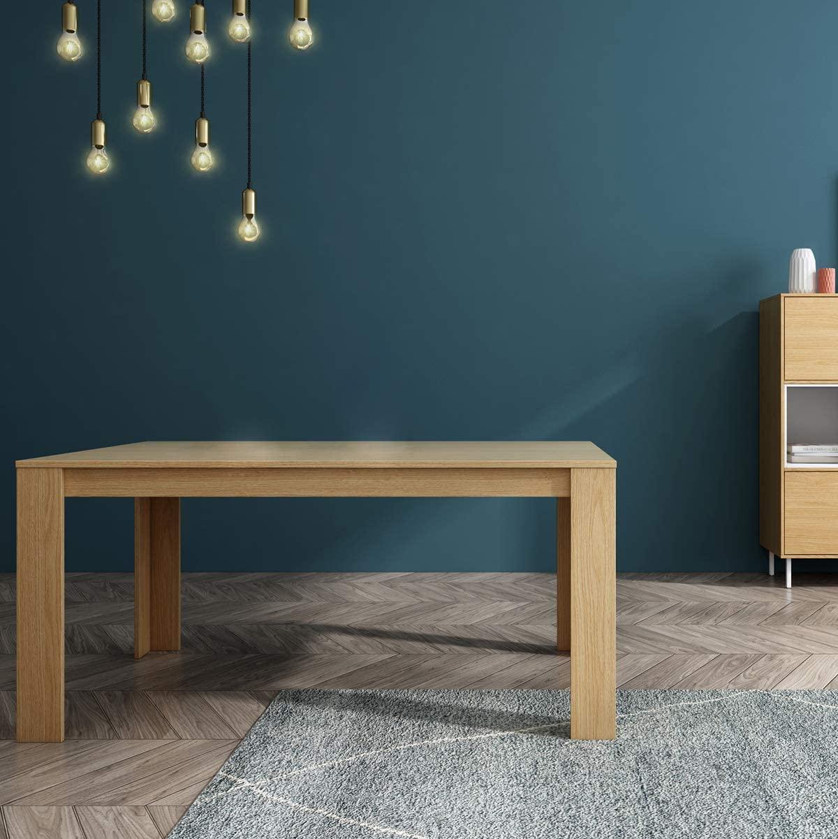Mc Haus TROTTER - Mesa Comedor Madera Natural salon, Mesa cocina oficina de Diseño Rectangular con patas de madera 160x90x75 cm