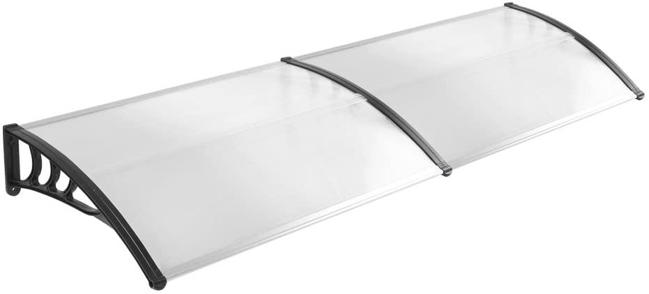 MCTECH 200 x 90 cm Marquesina Toldo para terrazas Tejadillo de protección para puertas y ventanas, Negro