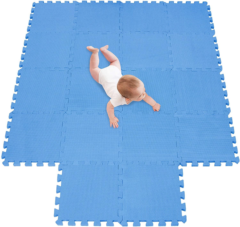 meiqicool Alfombra Puzzle Infantiles Suelo de Espuma EVA | Tapete de Juego | Alfombra Suave para Bebé | Alfombra Goma eva Bebe Manta Juegos Azul 07